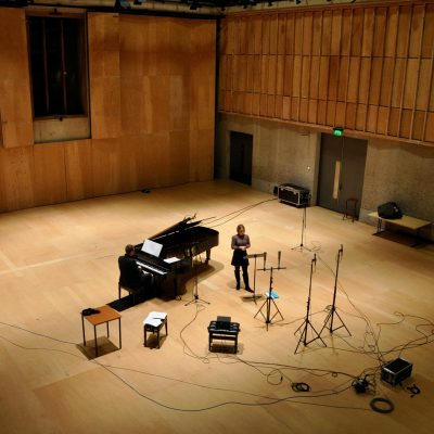Recording 'Love said to me...' with Joseph Middleton, Britten Studio, Snape Maltings (photo: Andrew Mellor)